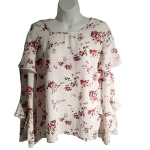 Long sleeves woman floral blouse